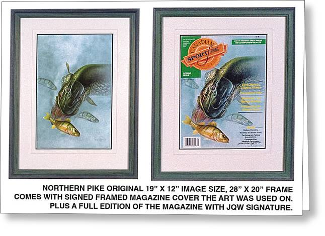 Pike Fishing Original And Magazine Greeting Card by JQ Licensing