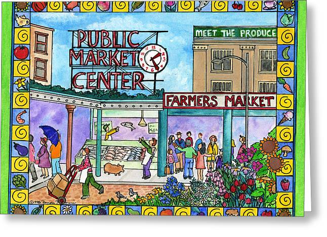Salmon Paintings Greeting Cards - Pike Place Market Greeting Card by Pamela  Corwin