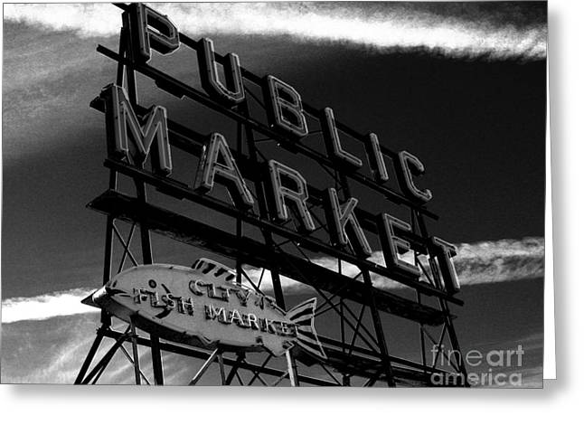 Fish Market Greeting Cards - Pikes PLace Market Sign Greeting Card by Nick Gustafson