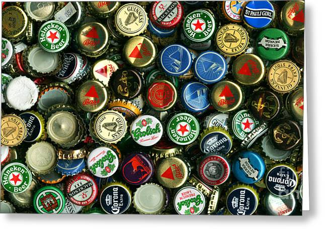 Bottle Cap Collection Greeting Cards - Pile of Beer Bottle Caps . 2 to 1 Proportion Greeting Card by Wingsdomain Art and Photography