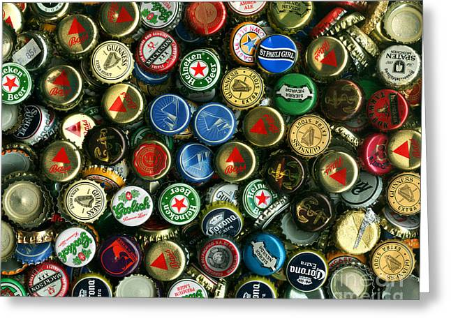 Bottle Cap Collection Greeting Cards - Pile of Beer Bottle Caps . 8 to 10 Proportion Greeting Card by Wingsdomain Art and Photography