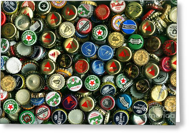 Bottle Cap Collection Greeting Cards - Pile of Beer Bottle Caps . 8 to 12 Proportion Greeting Card by Wingsdomain Art and Photography