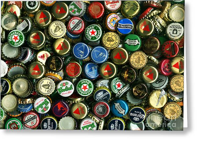 Bottle Cap Collection Greeting Cards - Pile of Beer Bottle Caps . 9 to 12 Proportion Greeting Card by Wingsdomain Art and Photography