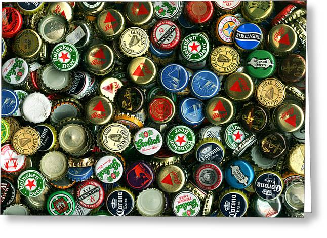 Bottle Cap Collection Greeting Cards - Pile of Beer Bottle Caps . 9 to 16 Proportion Greeting Card by Wingsdomain Art and Photography