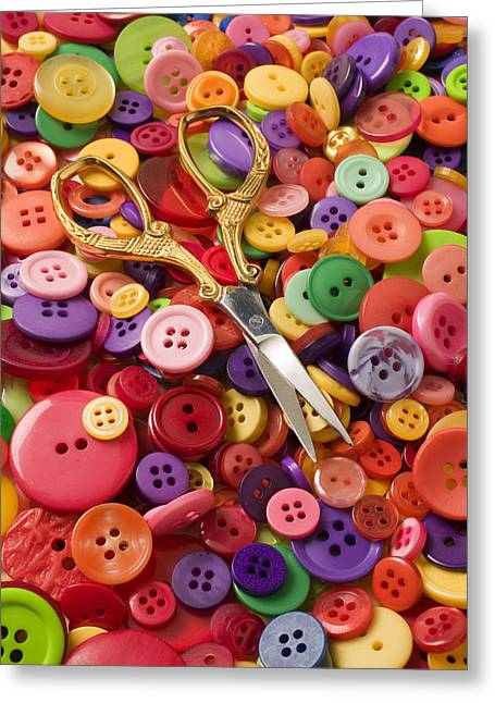 Disk Photographs Greeting Cards - Pile of buttons with scissors  Greeting Card by Garry Gay