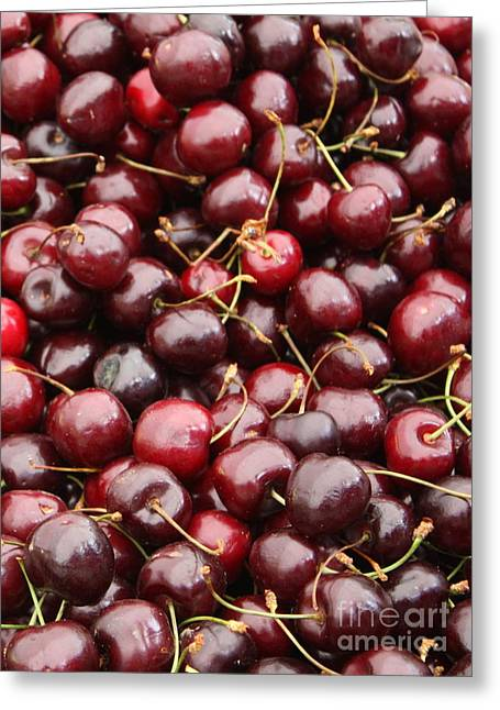Grocery Store Greeting Cards - Pile of Cherries Greeting Card by Carol Groenen