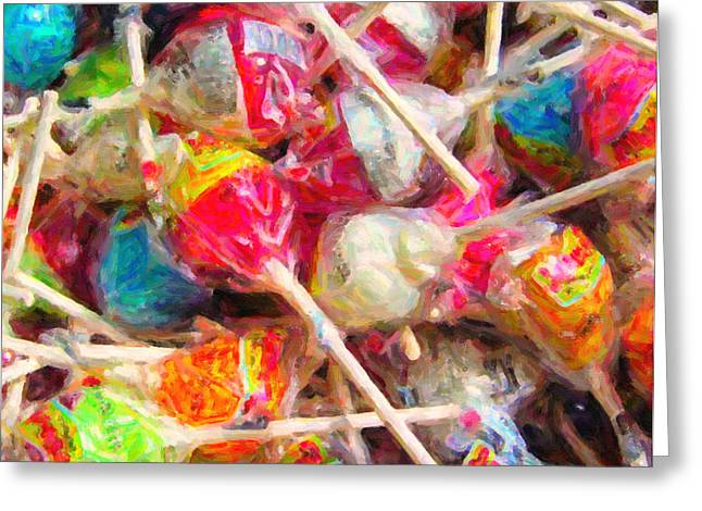 Pile of Lollipops - Painterly Greeting Card by Wingsdomain Art and Photography