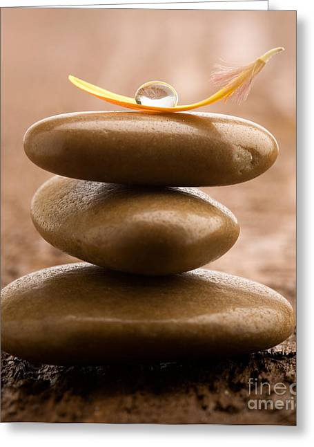Wellbeing Greeting Cards - Pile of massage stones Greeting Card by Kati Molin