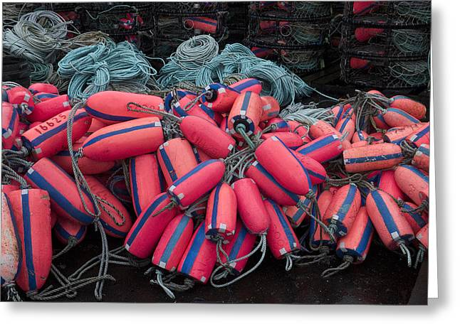 Crab Nets Greeting Cards - Pile of Pink and Blue Buoys Greeting Card by Carol Leigh