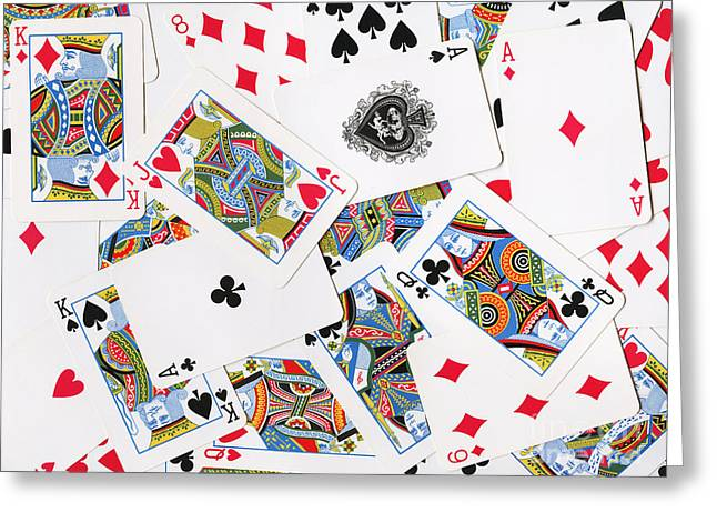 Deck Of Cards Greeting Cards - Pile of Playing Cards Greeting Card by Wingsdomain Art and Photography