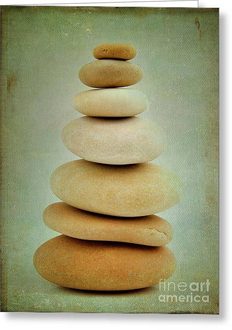 Balance Greeting Cards - Pile of stones Greeting Card by Bernard Jaubert