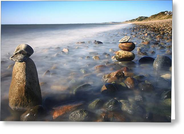 Exposure Framed Prints Greeting Cards - Pile Of Stones On Ryder Beach Truro MA Greeting Card by Dapixara Art