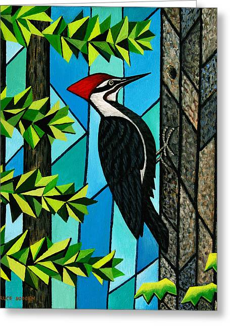 Recently Sold -  - Geometric Shape Greeting Cards - Pileated Woodpecker Greeting Card by Bruce Bodden