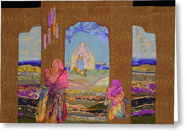 Religious Tapestries - Textiles Greeting Cards - Pilgrimage Greeting Card by Roberta Baker