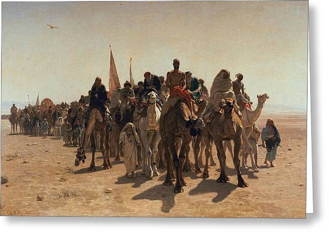 Processions Greeting Cards - Pilgrims Going to Mecca Greeting Card by Leon Auguste Adolphe Belly