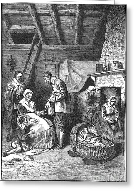 Family Time Greeting Cards - Pilgrims Starving, 1623 Greeting Card by Granger