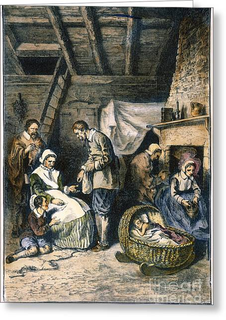 Family Time Greeting Cards - Pilgrims Starving Greeting Card by Granger