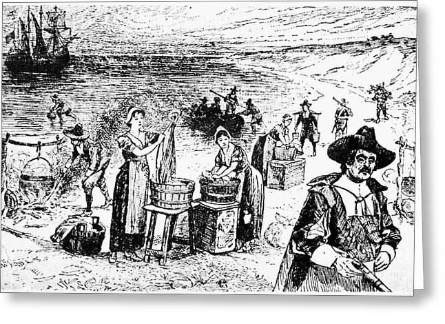 Mayflower Beach Greeting Cards - Pilgrims: Washing Day Greeting Card by Granger