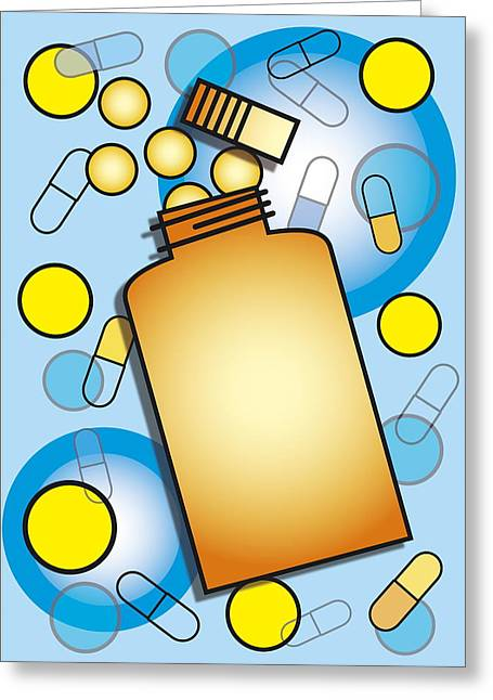 Pill Bottle Greeting Cards - Pill Bottle Greeting Card by David Nicholls