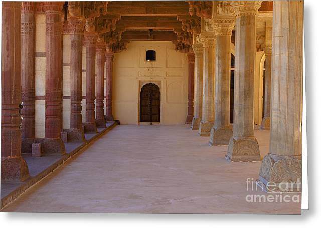 Pillars In Amber Fort Greeting Card by Inti St. Clair