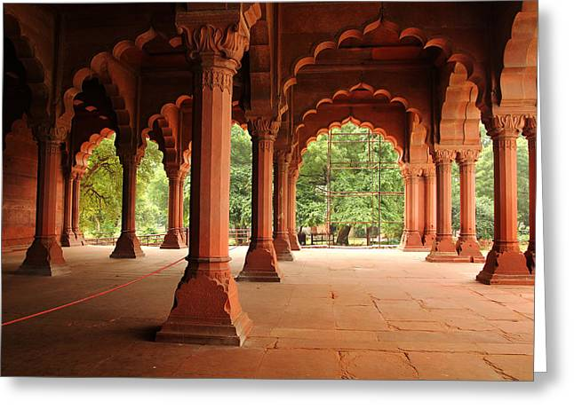 Basement Greeting Cards - Pillars in Red Forth India Greeting Card by Isabel Poulin