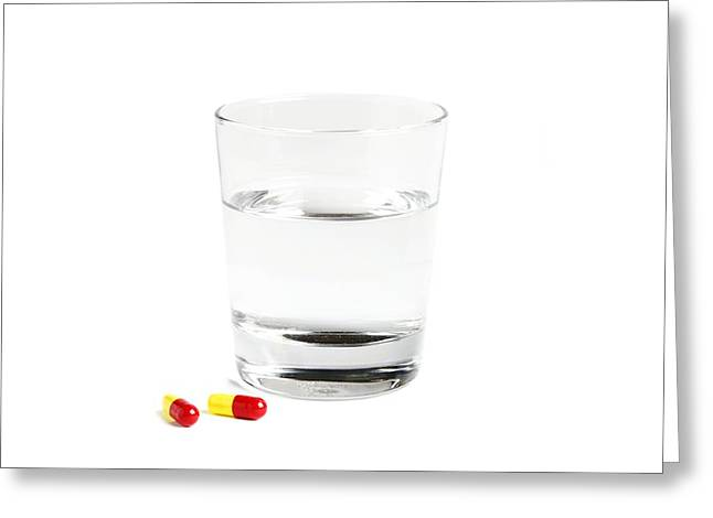 Capsule Greeting Cards - Pills And A Glass Of Water Greeting Card by