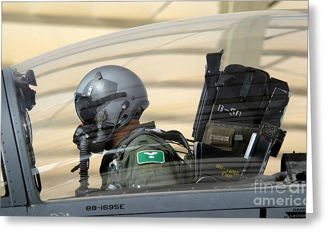 Checking Greeting Cards - Pilot Makes Final Pre-flight Checks Greeting Card by Stocktrek Images