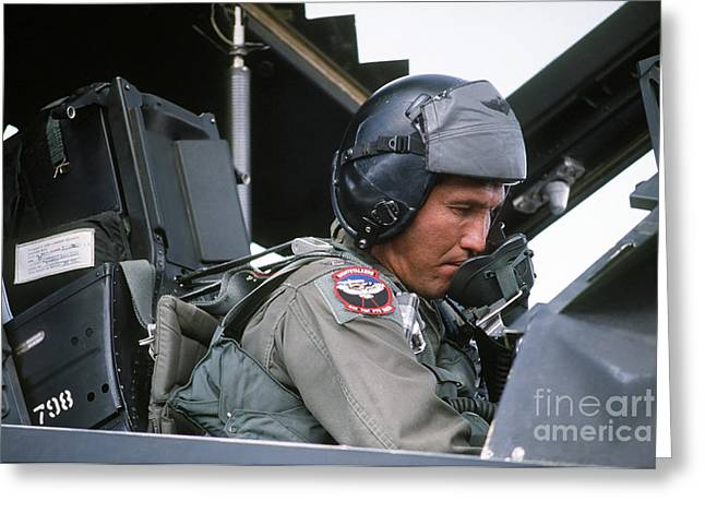 Pilot Sits In The Cockpit Of A F-117a Greeting Card by Stocktrek Images