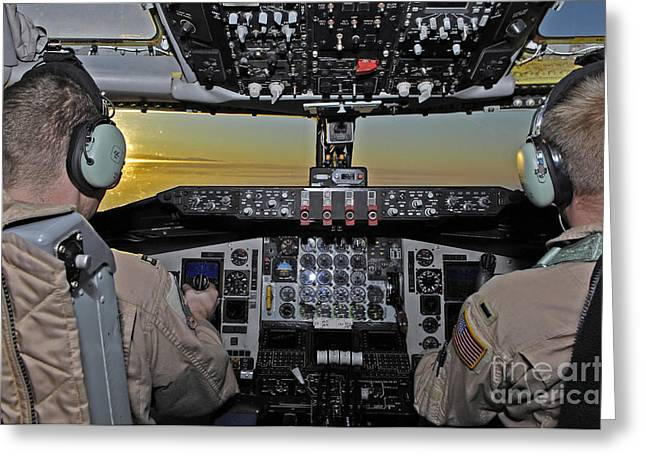 Aeronautics Greeting Cards - Pilots Fly Over The Mountains Greeting Card by Stocktrek Images