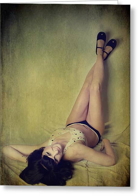 Pin-up Model Greeting Cards - Pin Me Up Greeting Card by Laurie Search