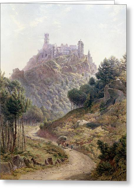 Fortress Greeting Cards - Pina Cintra Summer Home of the King of Portugal Greeting Card by George Leonard Lewis
