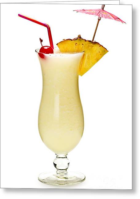 Umbrellas Greeting Cards - Pina colada cocktail Greeting Card by Elena Elisseeva