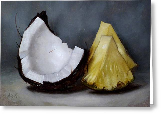 Pineapple Paintings Greeting Cards - Pina Colada Night Greeting Card by Clinton Hobart