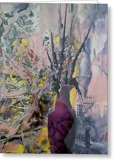 Haus Paintings Greeting Cards - Pinc Vase Greeting Card by Liz Naepflin
