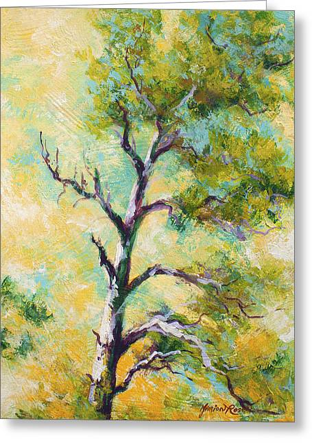 Single Tree Greeting Cards - Pine Abstract Greeting Card by Marion Rose