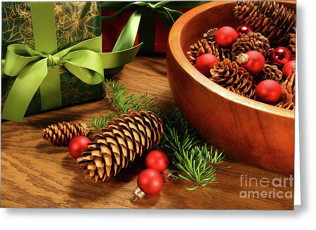 Words Background Greeting Cards - Pine branches with gift tag  Greeting Card by Sandra Cunningham