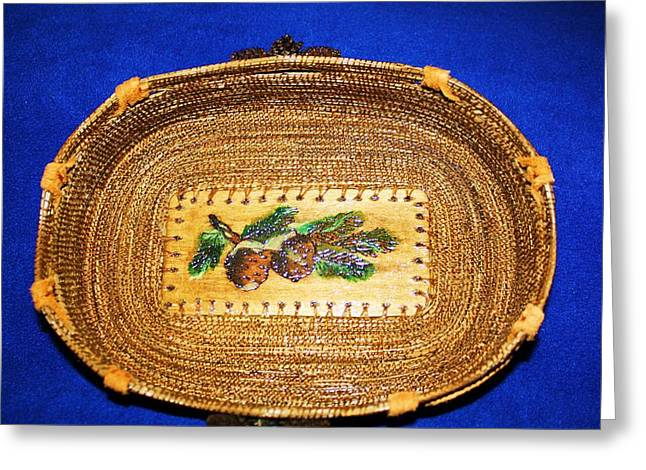 Pine Needles Mixed Media Greeting Cards - Pine Cone Pine needle Basket Greeting Card by Georgiana and Russell Barton