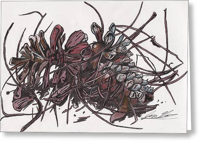 Pine Cones Mixed Media Greeting Cards - Pine Cones on Table Greeting Card by Jon Gore