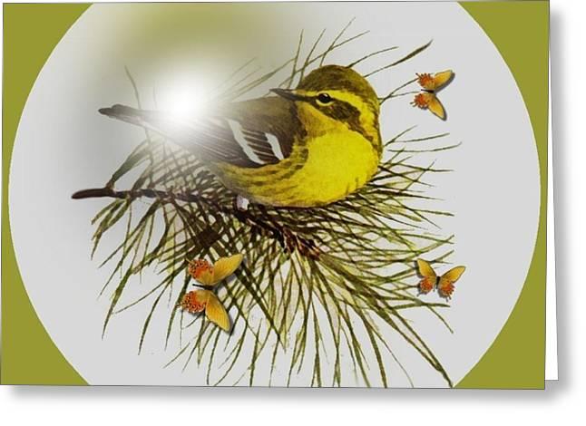 Warbler Digital Art Greeting Cards - Pine Warbler Greeting Card by Madeline  Allen - SmudgeArt