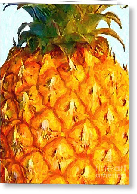 Pineapple Greeting Card by Wingsdomain Art and Photography