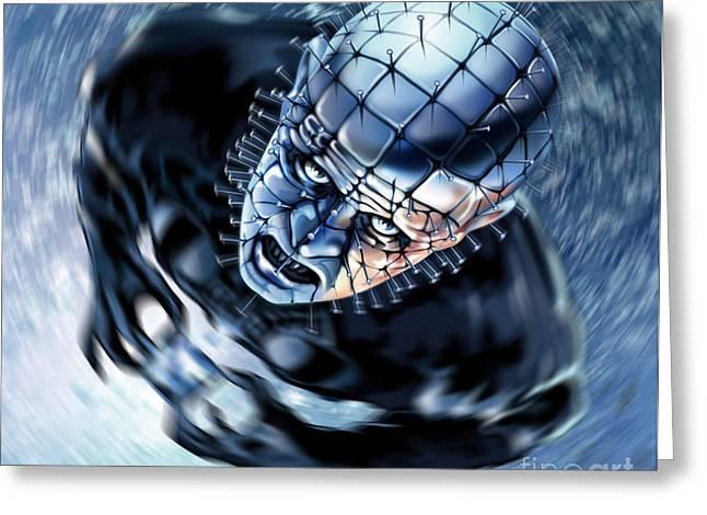 Pinhead Greeting Cards - Pinhead Hellraiser Greeting Card by Brian Gibbs