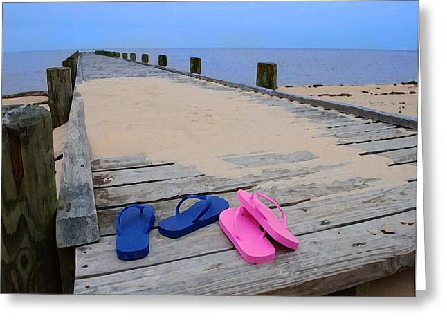 Crimson Tide Greeting Cards - Pink and Blue Flip Flops on the dock Greeting Card by Michael Thomas