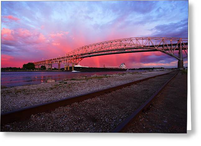 Double Span Concrete Bridge Greeting Cards - Pink and Blue Greeting Card by Gordon Dean II