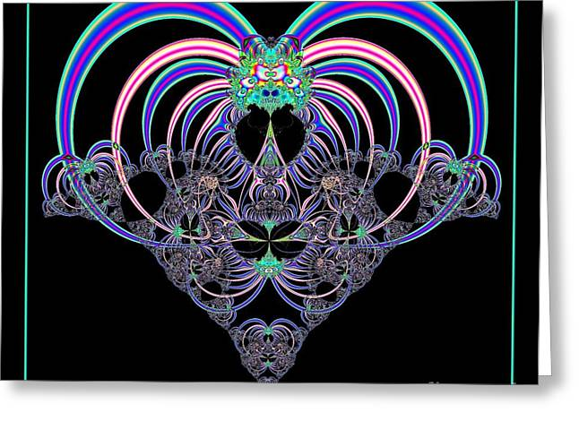Special Occasion Digital Art Greeting Cards - Pink and Blue Heart Fractal 82 Greeting Card by Rose Santuci-Sofranko
