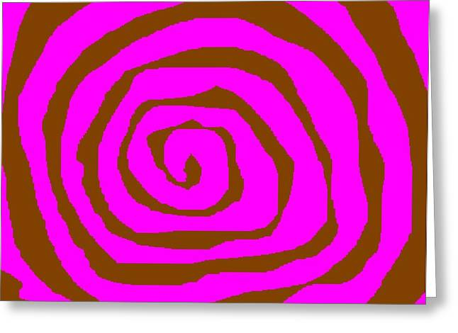 Pink and Brown Swirls Greeting Card by Jeannie Atwater Jordan Allen