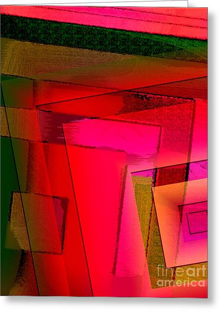 Pink And Green Geometric Art Greeting Card by Mario Perez