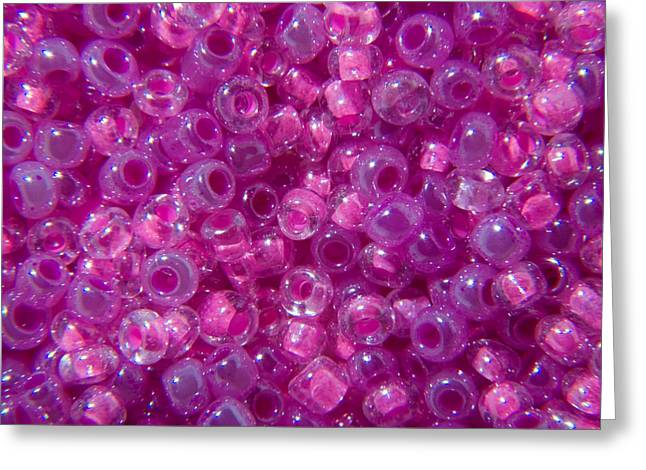 Seed Beads Greeting Cards - Pink and Lilac Seed Beads Greeting Card by Tigerlynx