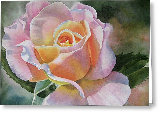 Roses Paintings Greeting Cards - Pink and Peach Rose Bud Greeting Card by Sharon Freeman