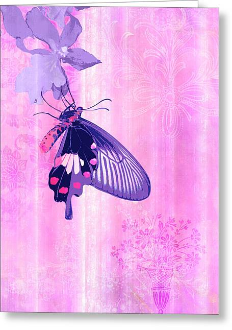 Quilt Greeting Cards - Pink and Purple Companions 1 Greeting Card by JQ Licensing
