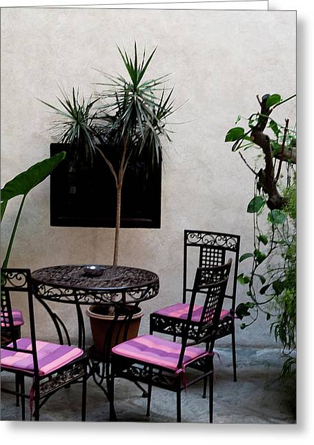 Southern Province Greeting Cards - Pink and Purple Patio Greeting Card by Lorraine Devon Wilke